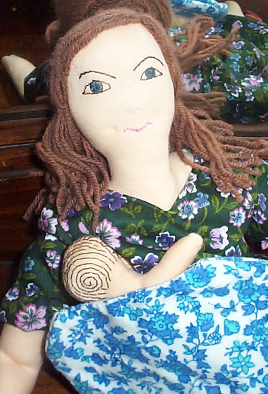 Breastfeeding Doll Wearing a Nursing Top, by Cotton Mother Dolls